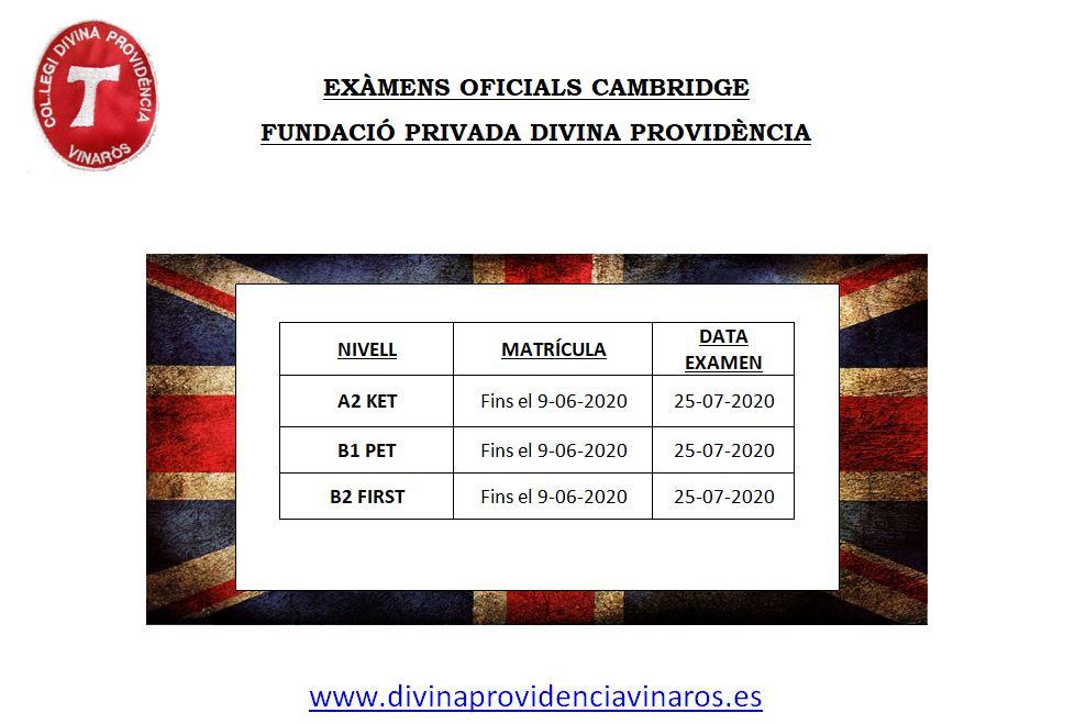 EXÀMENS OFICIALS DE CAMBRIGE